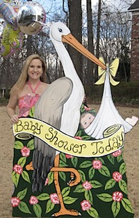 "Stork with ""Baby Shower Today"" Banner"