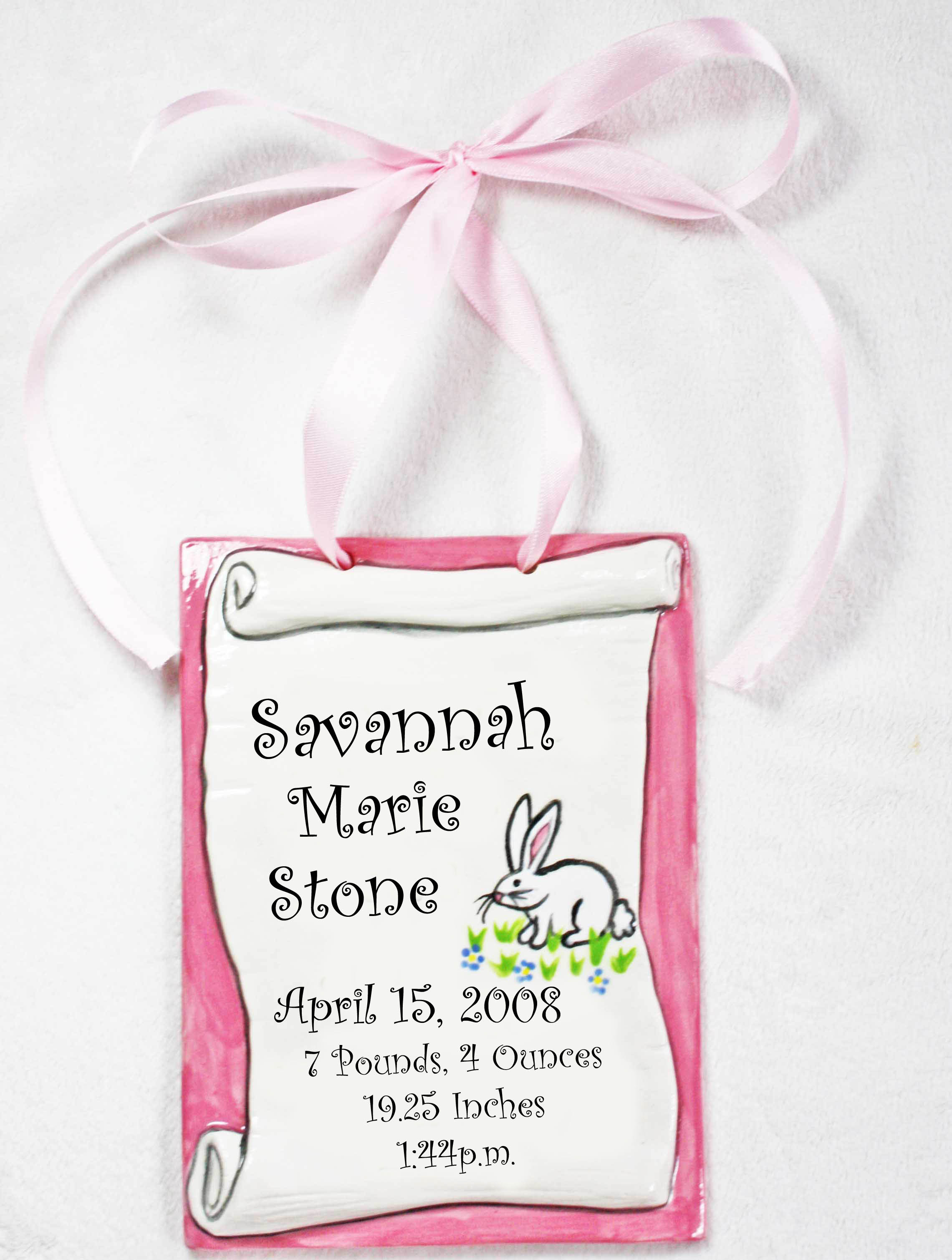 Personalized baby gifts amy stone baby stats birth information ceramic tile negle Image collections