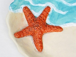 Detail of starfish oval platter