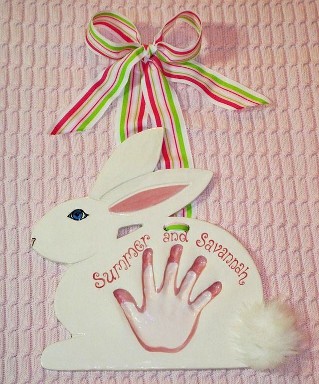 Easter Bunny hand in hand impression