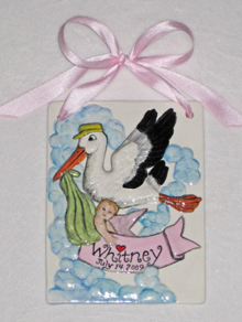 Personalized baby gifts amy stone girls ceramic stork baby tile negle Images
