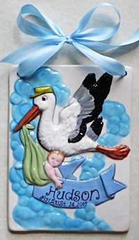 Its a Boy Ceramic tile with stork