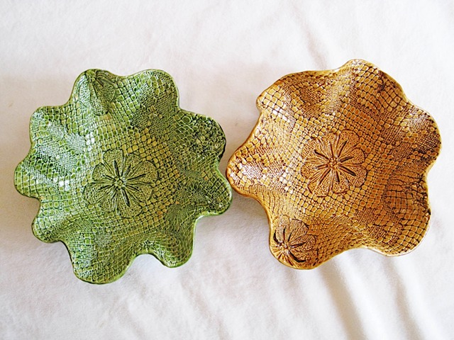 Patterned Bowls Green Gold